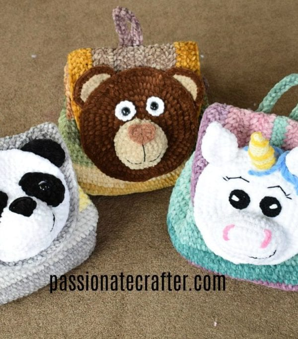 Backpack self-stripe velvet yarn – animals' world