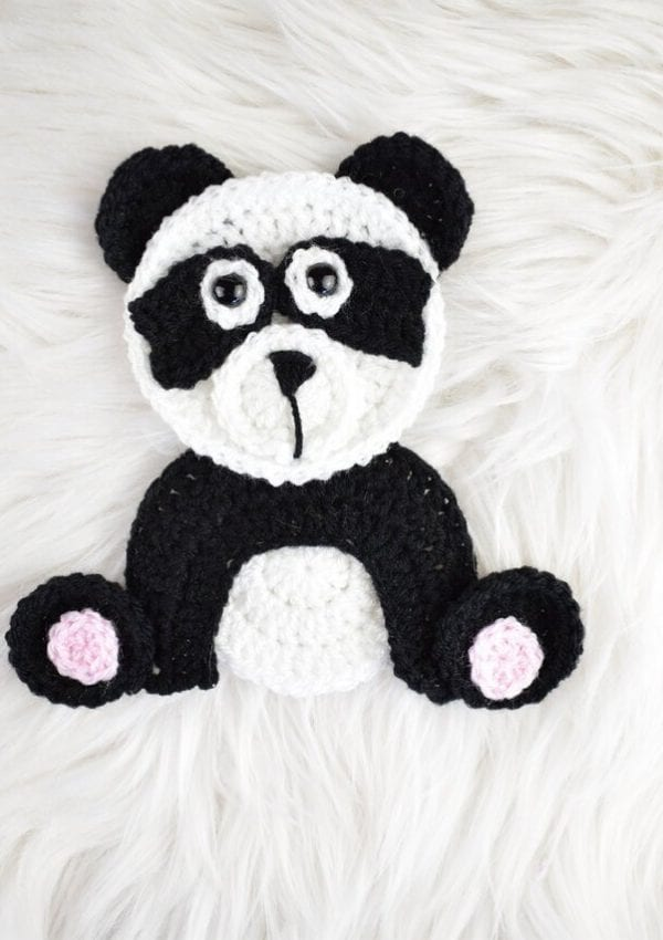 free crochet Panda applique pattern