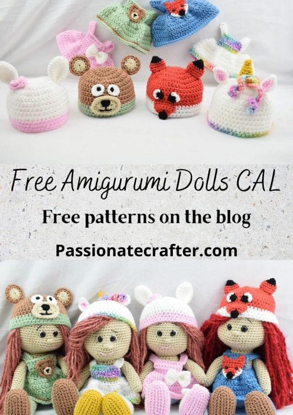 Amigurumi crochet doll CAL -crochet along- 4 different crochet dolls