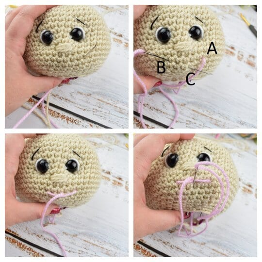 how to make a mouth for crochet dolls