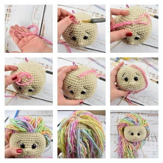 how to attach a hair to crochet doll